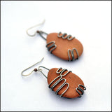 Terra Cotta Beach Pottery Earrings Large , Earrings - Erin Austin, No Roses Jewelry Artisan Jewelry Los Angeles - 1