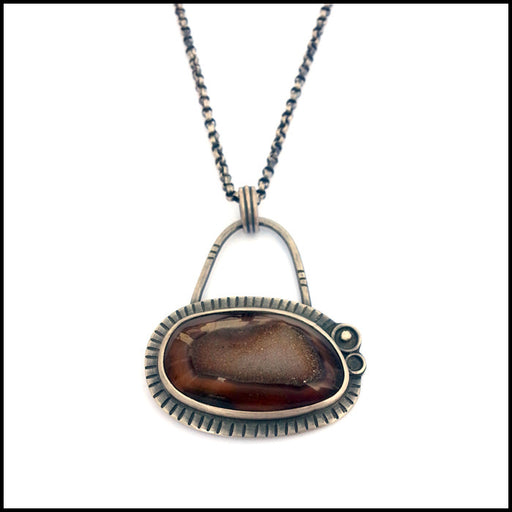 Oxidized Sterling and Agate Druzy Pendant , Necklace - Erin Austin, No Roses Jewelry Artisan Jewelry Los Angeles