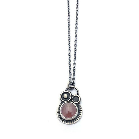 Orbital Necklace Oxidized Silver and Carnelian , Necklace - Erin Austin, No Roses Jewelry Artisan Jewelry Los Angeles - 1