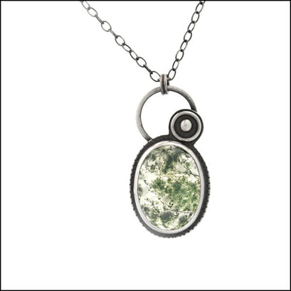 Moss Green Agate and Oxidized Silver Pendant , Necklace - Erin Austin, No Roses Jewelry Artisan Jewelry Los Angeles