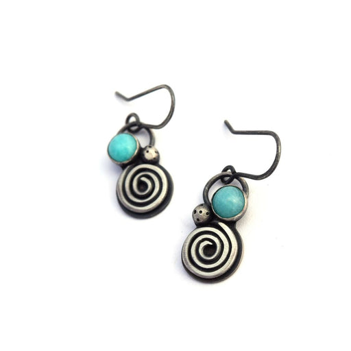 norosesjewelry.com - Los Angeles - Seaside Spiral Dangle Earrings with Amazonite