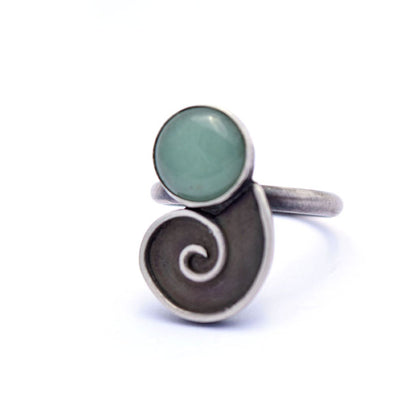 norosesjewelry.com - Los Angeles - Nautilus Ring Sterling Silver with Green Aventurine