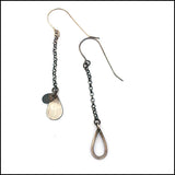 Raindrop Chain Dangle Earrings Sterling Silver , Earrings - Erin Austin, No Roses Jewelry Artisan Jewelry Los Angeles - 2