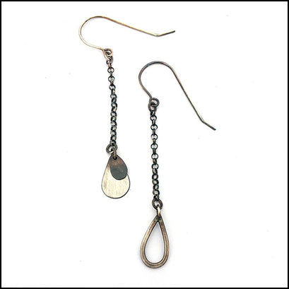 Raindrop Chain Dangle Earrings Sterling Silver , Earrings - Erin Austin, No Roses Jewelry Artisan Jewelry Los Angeles - 1