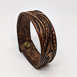 Medium Leather Cuff with Leaf Design