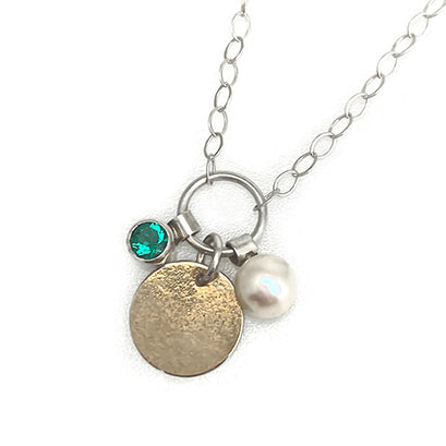 norosesjewelry.com - Los Angeles - Helenite, Gold and Pearl Charms Necklace