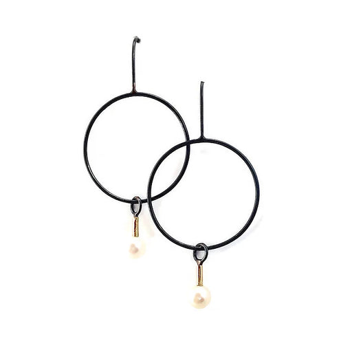 norosesjewelry.com - Los Angeles - Blackened Hoop Gold and Pearl Earrings