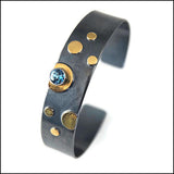 6-Dot Cuff Bracelet with Blue Topaz , bracelet - Judy Morgan, No Roses Jewelry Artisan Jewelry Los Angeles