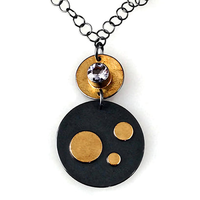 norosesjewelry.com - Los Angeles - Three Dot Necklace: Oxidized Silver and 22k Gold