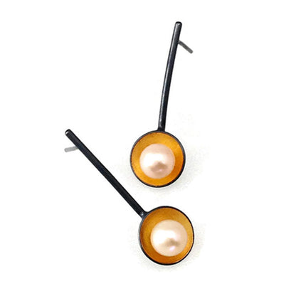 norosesjewelry.com - Los Angeles - Gold and Pearl Cup Stick Earrings