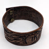 norosesjewelry.com - Los Angeles - Wide Leather Cuff with Dragon Design and Runic Symbol