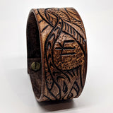 Wide Leather Cuff with Dragon Design and Runic Symbol