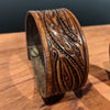norosesjewelry.com - Los Angeles - Wide Leather Cuff with Leaf Design