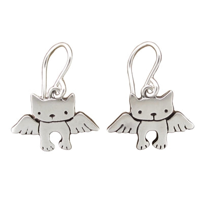 norosesjewelry.com - Los Angeles - Sterling Silver Angel Cat Earrings