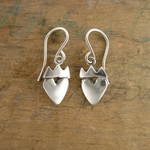 norosesjewelry.com - Los Angeles - Sterling Silver Crown Heart Earrings