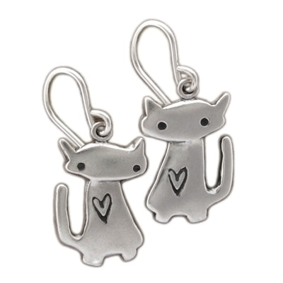 norosesjewelry.com - Los Angeles - Sterling Silver Love Cat Earrings