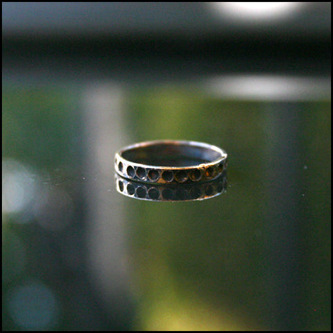 Oxidized Dimple Stacker Ring , rings - No Roses Ore, No Roses Jewelry Artisan Jewelry Los Angeles - 1