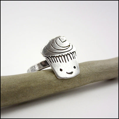 Sterling Silver Cupcake Ring , rings - Mark Poulin, No Roses Jewelry Artisan Jewelry Los Angeles - 1