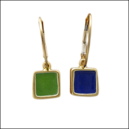 norosesjewelry.com - Los Angeles - Tiny Green-Blue Reversible Eararings