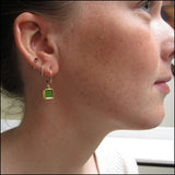Tiny Gold Green Blue Earrings