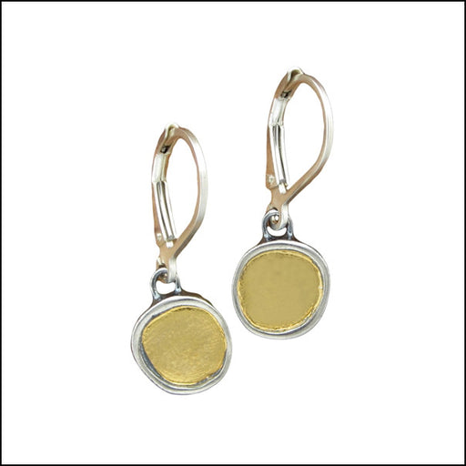 22k Gold and Sterling Round Earrings , Earrings - Mark Poulin, No Roses Jewelry Artisan Jewelry Los Angeles - 2