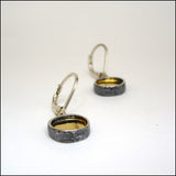 22k Gold and Sterling Round Earrings , Earrings - Mark Poulin, No Roses Jewelry Artisan Jewelry Los Angeles - 4