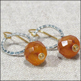 Hoop Drop Earrings - Carnelian , Earrings - No Roses Earthen, No Roses Jewelry Artisan Jewelry Los Angeles - 1