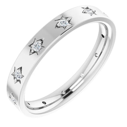 norosesjewelry.com - Los Angeles - Diamonds in Stars Wedding Band