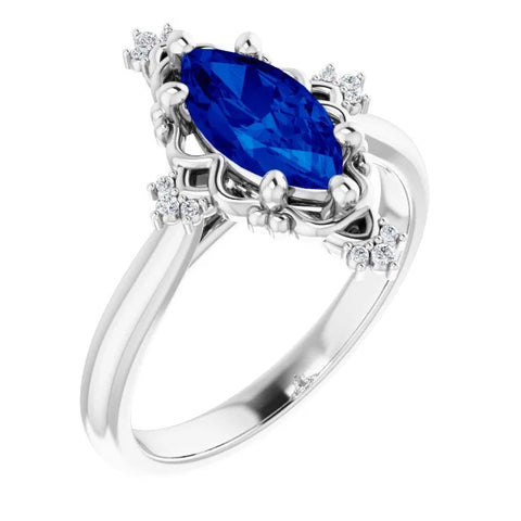norosesjewelry.com - Los Angeles - Sapphire and Diamond Marquise Engagement Ring