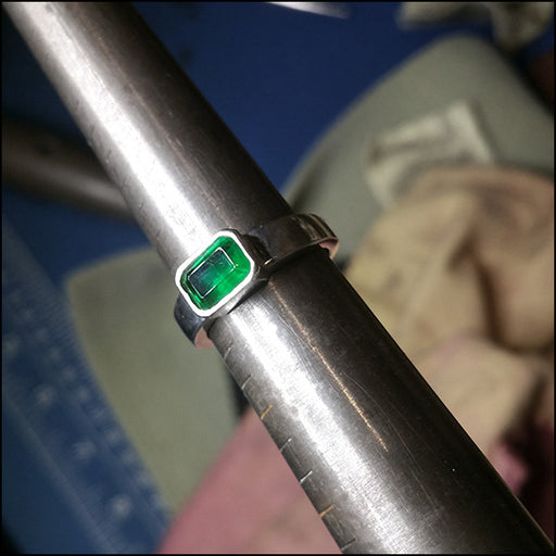 Emerald-cut Emerald Ring for Janet , ring - No Roses Custom, No Roses Jewelry Artisan Jewelry Los Angeles - 1