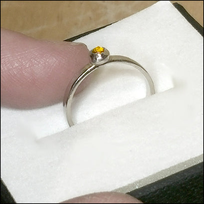Teeny White Gold Citrine Ring for Mark , rings - No Roses Custom, No Roses Jewelry Artisan Jewelry Los Angeles - 1