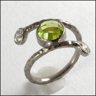 Bespoke Peridot and White Gold Artisan Engagement Ring , rings - No Roses Custom, No Roses Jewelry Artisan Jewelry Los Angeles - 1