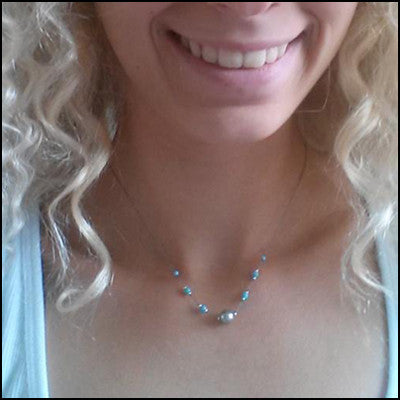 Custom Turquoise and Pearl Necklace for Nanna , Necklace - No Roses Custom, No Roses Jewelry Artisan Jewelry Los Angeles