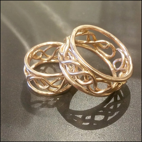 Rose Gold Artisan Wedding Bands for Audrey and Gregg , rings - No Roses Custom, No Roses Jewelry Artisan Jewelry Los Angeles - 1