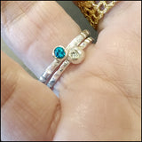 Blue and White CZ Stacking Rings , rings - No Roses Earthen, No Roses Jewelry Artisan Jewelry Los Angeles - 2