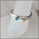 Blue and White CZ Stacking Rings , rings - No Roses Earthen, No Roses Jewelry Artisan Jewelry Los Angeles - 4