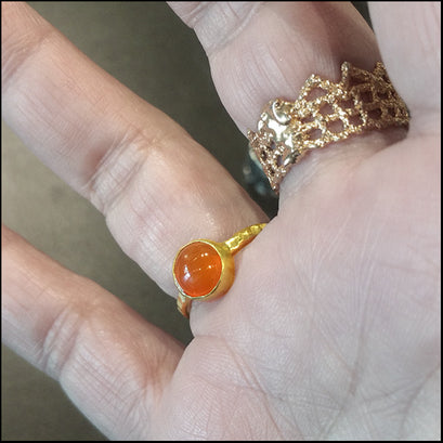 Carnelian Bezel Ring , rings - No Roses Earthen, No Roses Jewelry Artisan Jewelry Los Angeles - 1