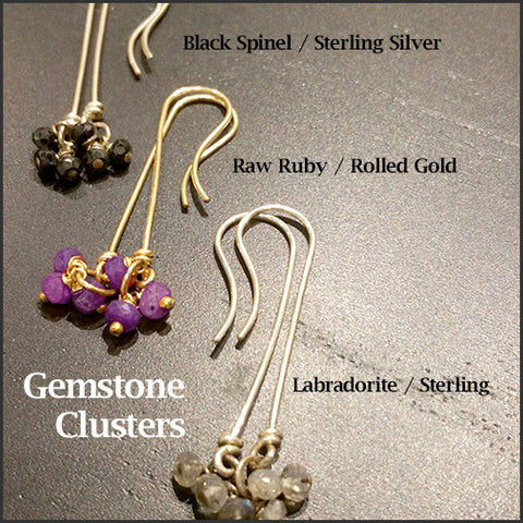 Gemstone Cluster Earrings , Earrings - No Roses Earthen, No Roses Jewelry Artisan Jewelry Los Angeles