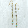 norosesjewelry.com - Los Angeles - Long Drips Pearl and Turquoise Earrings