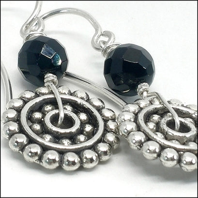 norosesjewelry.com - Los Angeles - Steampunk Drop Earrings, Black Onyx
