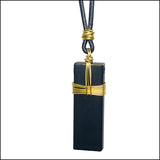 black brass rectangle necklace NoRosesJewelry.com
