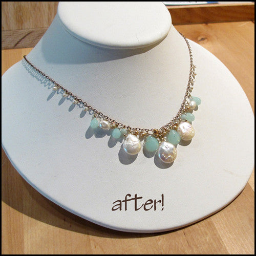 Custom Re-Designed Pearl Necklace: Linda , Necklace - No Roses Custom, No Roses Jewelry Artisan Jewelry Los Angeles - 1