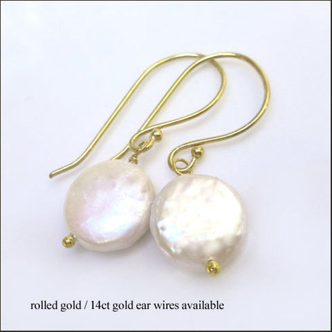 White Coin Pearl Drop Earrings , Earrings - No Roses Mad Pearls, No Roses Jewelry Artisan Jewelry Los Angeles - 1