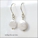 White Coin Pearl Drop Earrings , Earrings - No Roses Mad Pearls, No Roses Jewelry Artisan Jewelry Los Angeles - 2