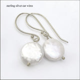 White Coin Pearl Drop Earrings , Earrings - No Roses Mad Pearls, No Roses Jewelry Artisan Jewelry Los Angeles - 3