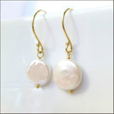 White Coin Pearl Drop Earrings , Earrings - No Roses Mad Pearls, No Roses Jewelry Artisan Jewelry Los Angeles - 4