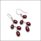 Vines Earrings Red Pearl