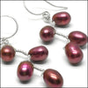 norosesjewelry.com - Los Angeles - Vines Earrings Red Pearl