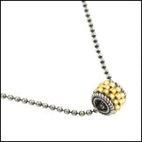 Bali Gold and Blackened Sterling Pendant , Necklace - No Roses Metro, No Roses Jewelry Artisan Jewelry Los Angeles - 1