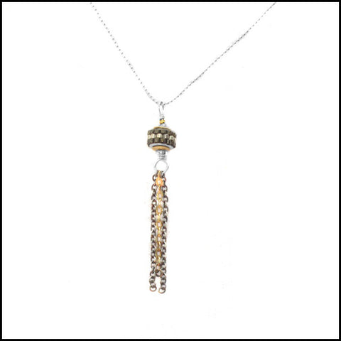 Delicate Beaded Tassel Pendant , Necklace - No Roses Metro, No Roses Jewelry Artisan Jewelry Los Angeles - 1